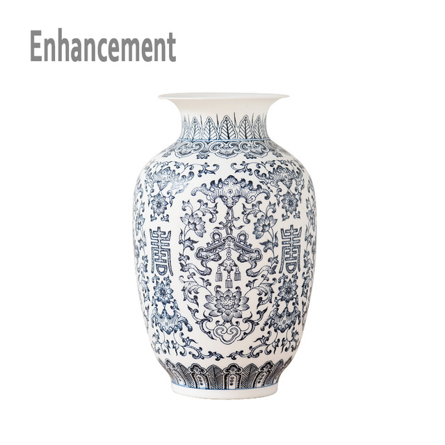 Blue and White Ceramic Vase Design Porcelain Flower Bat Pattern Vase ...