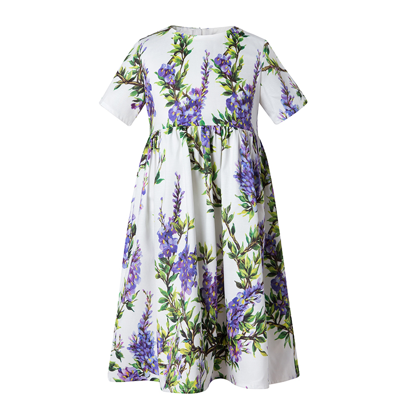 Keelorn Princess Girl Party Dress 2017 Brand Dresses Lavender Printed Kids Dress for Girls Clothes European and American Style 100% real photo brand kids red heart sleeve dress american and european style hollow girls clothes baby girl clothes