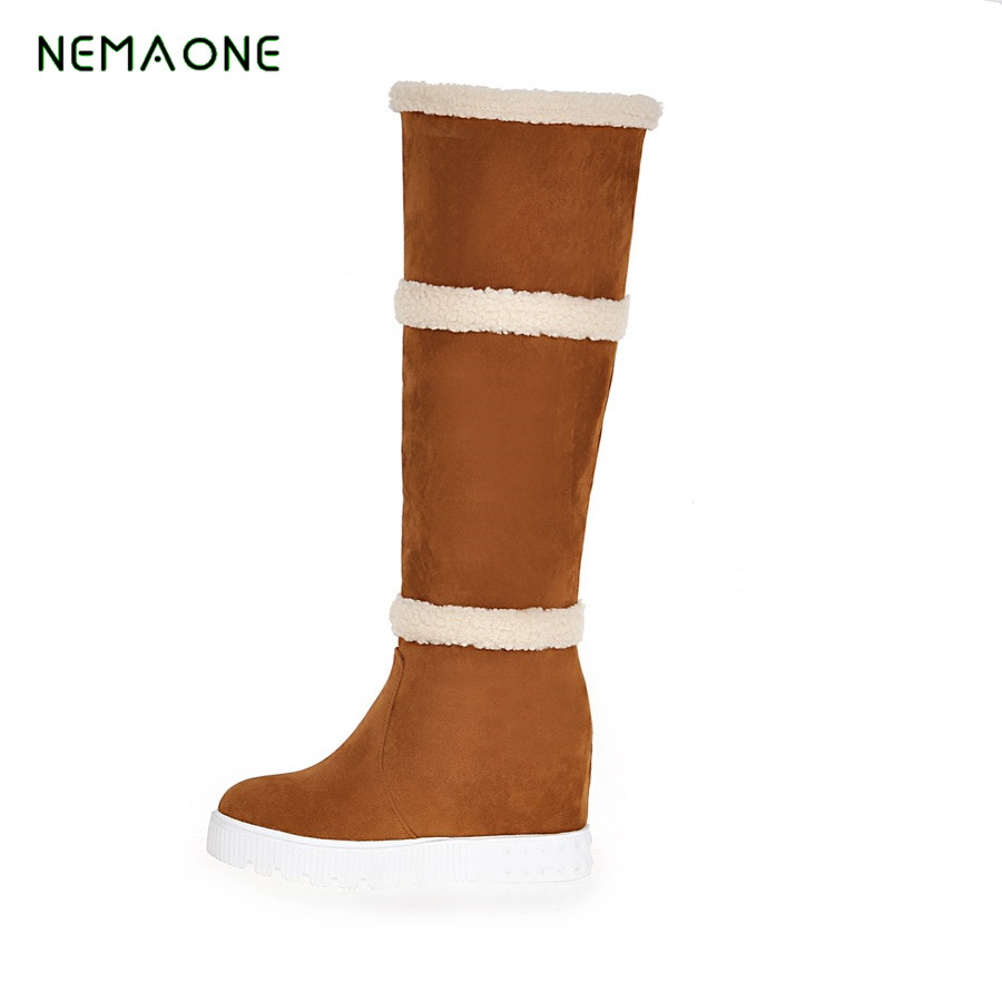 NEMAONE 2017 Winter New Fashion Large Size Snow Boots Female Warm Plus Velvet Frosted Rabbit Hair Snow Boots Hot Women'S Boots духовой шкаф smeg sfp6925ppz