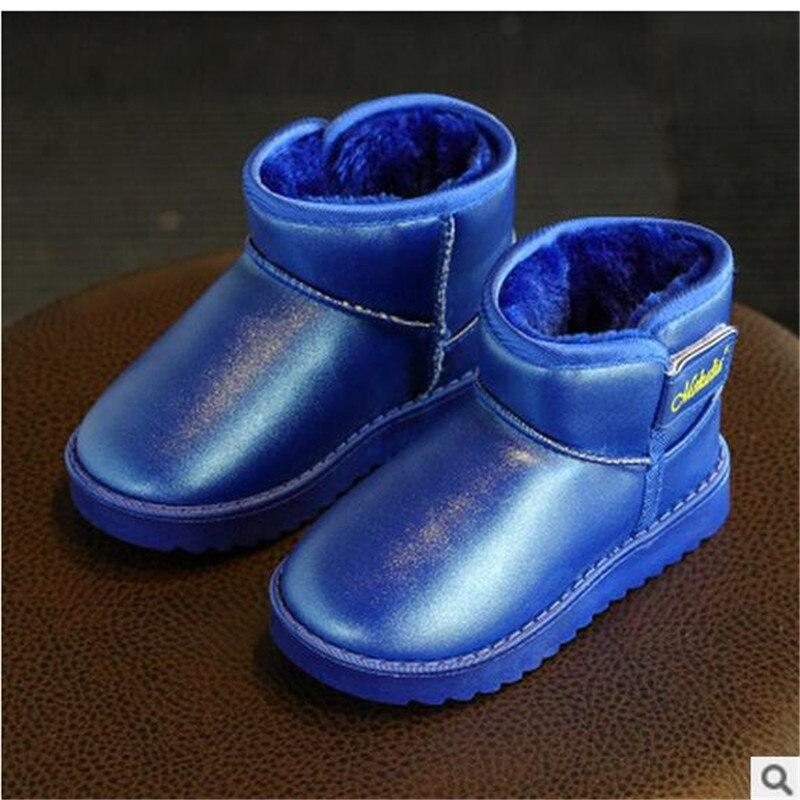 2018 зимние модели детская обувь Новые однотонные Детские теплые водонепроницаемые зимние сапоги