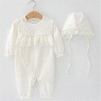 Hurave Bebek Kız BEBEK Kız çocuk Giyimi Uzun Kollu pamuk o-boyun katı dantel nedensel çocuk Giyim romper