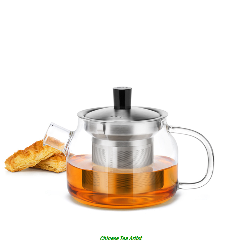 Modern Heat Resistant Glass Teapot with Stainless Steel Infuser Lid 470ml Multiple Color Handle Tea pot