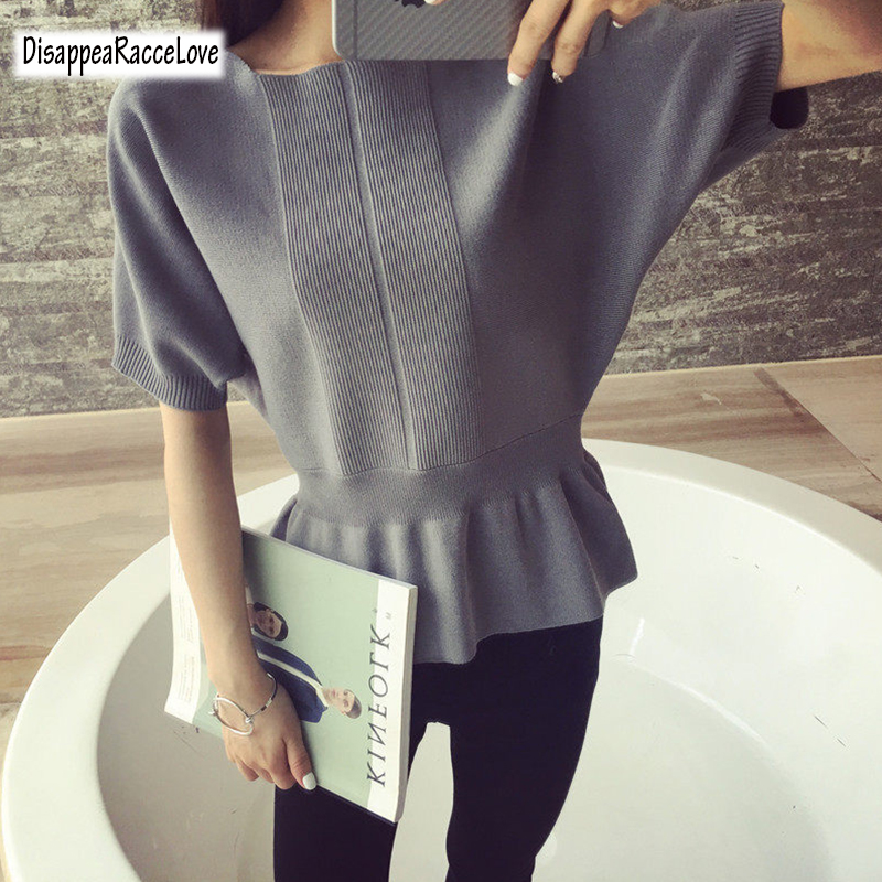 Disappearancelove A word collar Cashmere Sweater New women loose big yards thin short-sleeved knit hedging wild Sweater