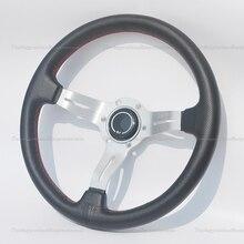High Quality Rivet Steering Wheel Small Holes Leather 350mm Silver Spoke Steering Wheel Universal ND Car Steering Wheel 350mm real leather steering wheel universal 14 inch flat steering wheel with black spoke