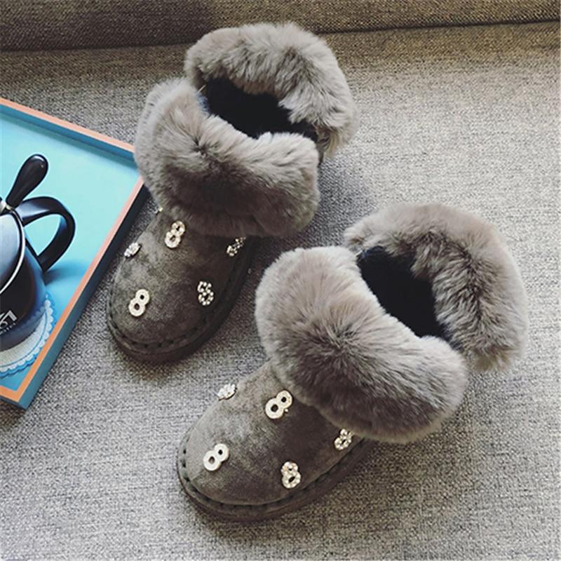 pink Rebaño Plataforma De khaki Negro Rosa Botas Mujeres Moda Conejo Invierno Las Black Zapatos Mujer Tobillo Piel Nieve Plana SBqT0