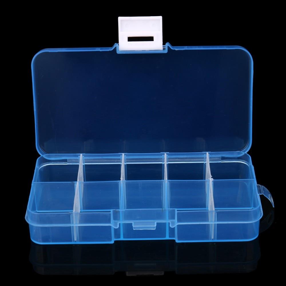 10 Slots Adjustable Transparent Jewelry Storage Box Ring Earring Drug Pill Beads Portable Plastic Organizer Case Travel Craft