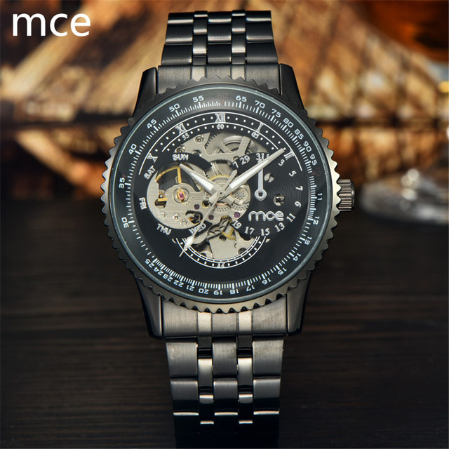 MCE Luxury Fashion Brand Watch men mechanical automatic 2017 Full Stainless Steel Skeleton waterproof Mechanical watches for men