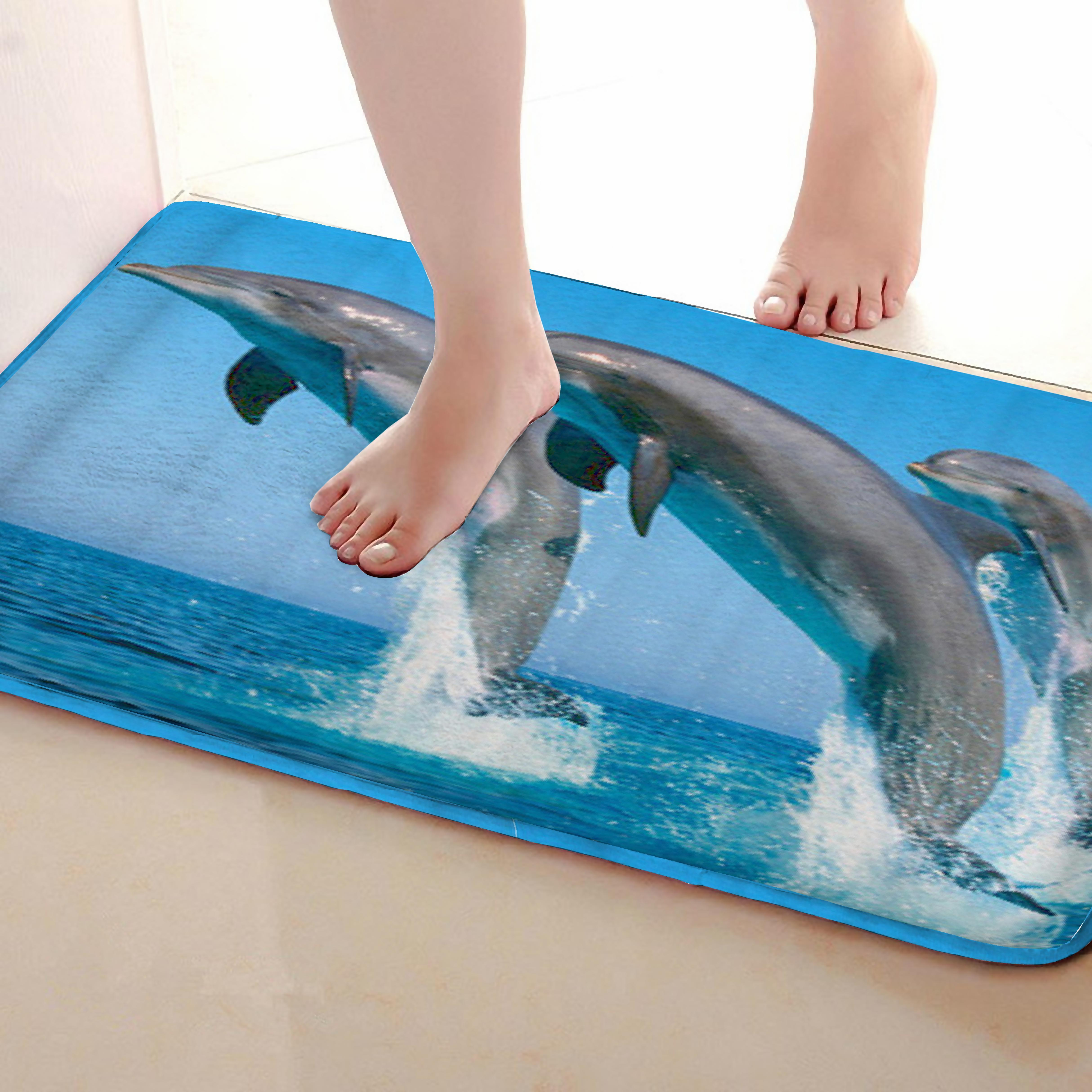 Dolphin Style Bathroom Mat,Funny Anti Skid Bath Mat,Shower Curtains Accessories,Matching Your Shower Curtain