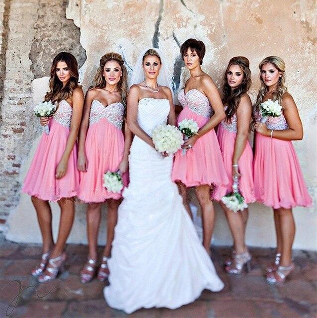 Hot Pink Bridesmaid Dresses 2015 Short Dress For Party Over Knee Length  Formal Gowns For Junior Vestido Madrinha 76d848e2ba78