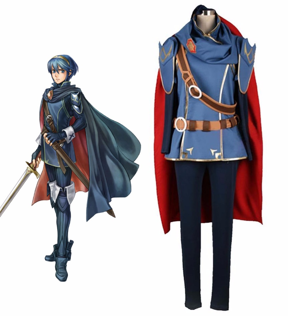 Fire Emblem Marth Cosplay Costume Halloween Uniform Outfit Shirt+