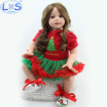 LONSUN 60cm Baby Silicone Reborn Dolls Hobbies Stuffed Toys Accessories Dolls Bedtime Early Education Girl Toys Christmas Gift