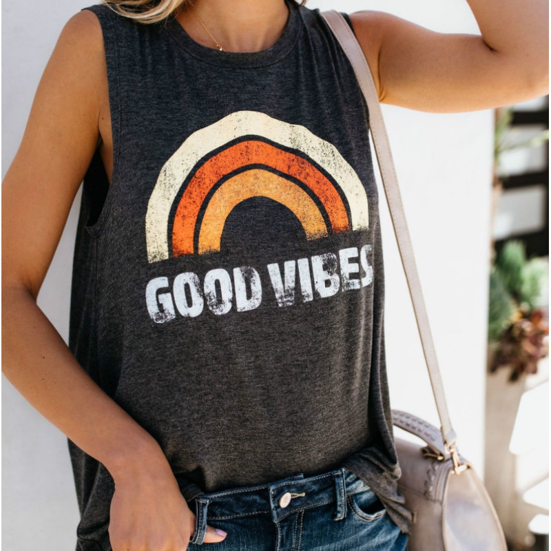 Vest Clothing Tank-Tops Good-Vibes Graphic Rainbow-Letter Aesthetic Round-Neck Printing