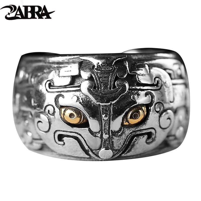 ZABRA 925 argent Sterling Vintage hommes anneaux chinois mythe créatures cuivre yeux gothique anneau Punk Rock homme Thai argent bijoux