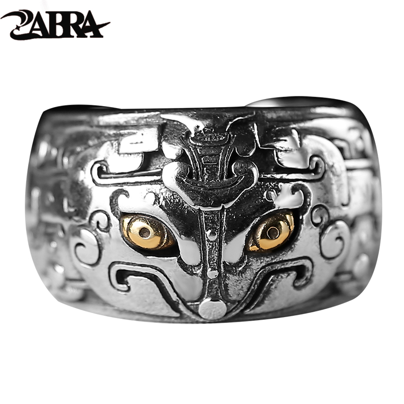 ZABRA Sterling Silver 925 Vintage Men Rings Chinese Myth Creatures Gothic Bague Ring Punk Rock Mens Fine Personality Jewelry 925 sterling silver bracelets for men skull bracelet vintage punk rock gothic bague fashion men cool exaggerated fine jewelry