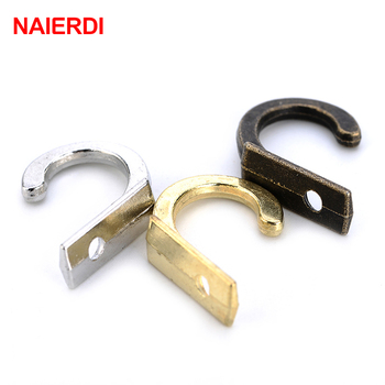 NAIERDI 10PCS Antique Hooks Small Wall Hanger Buckle Horn Lock Clasp Hook Hasp Latch For Wooden Jewelry Box Furniture Hardware in stock antique box buckle suitcase lock hasp antique wooden trunk metal buckle