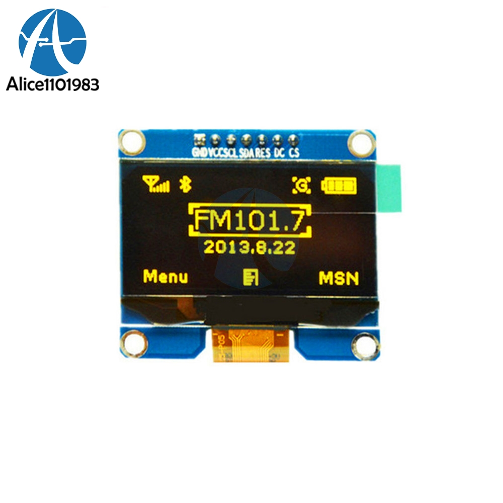 "1.54"" Yellow OLED Display Module 1.54 inch 128x64 SPI IIC I2C Interface OLED Screen Board 3.3-5V For Arduino AVR STM32 8051"