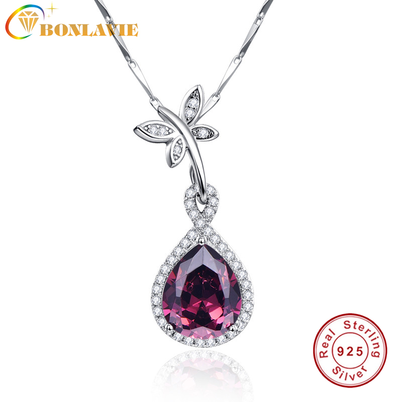 BONLAVIE 1 Piece 100% 925 Sterling Silver Necklace Crystal Butterfly Waterdrop Pendant Silver Necklace For Women FREE SHIPPING