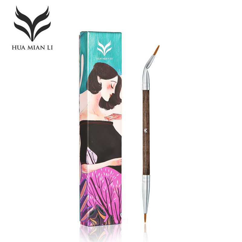 HUAMIANLI Brand Double Bent Eyeliner Makeup Brushes Set Goat Hair Wooden Gel Liquid Eye Liner Make Up Brush Tool With Pretty Box gorgeous big eye waterproof liquid eyeliner for lady with strawberry shape
