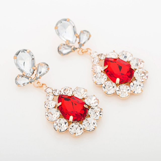 YFJEWE Arrival Flower drop red blue green color crystal earrings jewelry  mosaic bling ladies formal dress bridal earrings  E081 6fbdf8d1a4af