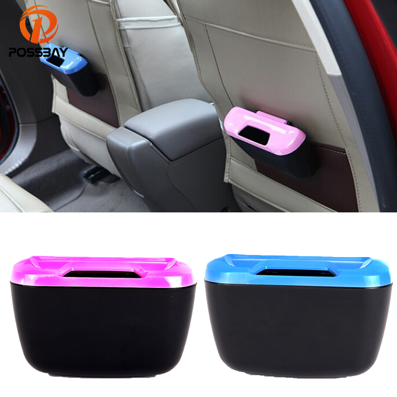 POSSBAY Car Trash Can Garbage Dust Case Holder Mini Rubbish Box Portable Auto Accessories Car Organizer Waste Bin Universal