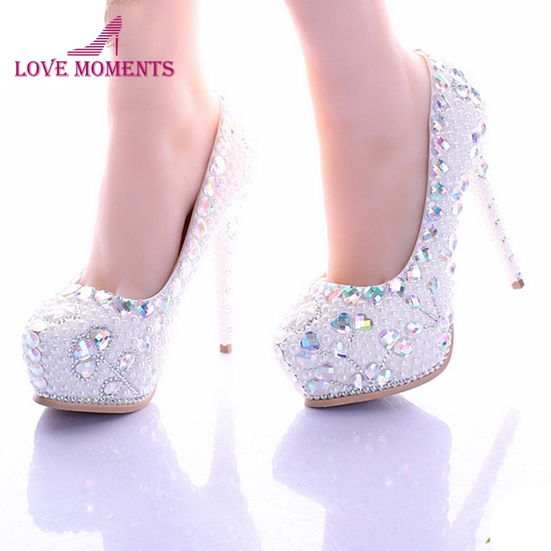 White Pearl High Heel Shoes Crystal Platform Bridal Wedding Shoes Diamond Rhinestone Women Shoes Formal Gown Prom Shoes cinderella high heels crystal wedding shoes 14cm thin heel rhinestone bridal shoes round toe formal occasion prom shoes