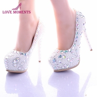 White Pearl High Heel Shoes Crystal Platform Bridal Wedding Shoes Diamond Rhinestone Women Shoes Formal Gown Prom Shoes