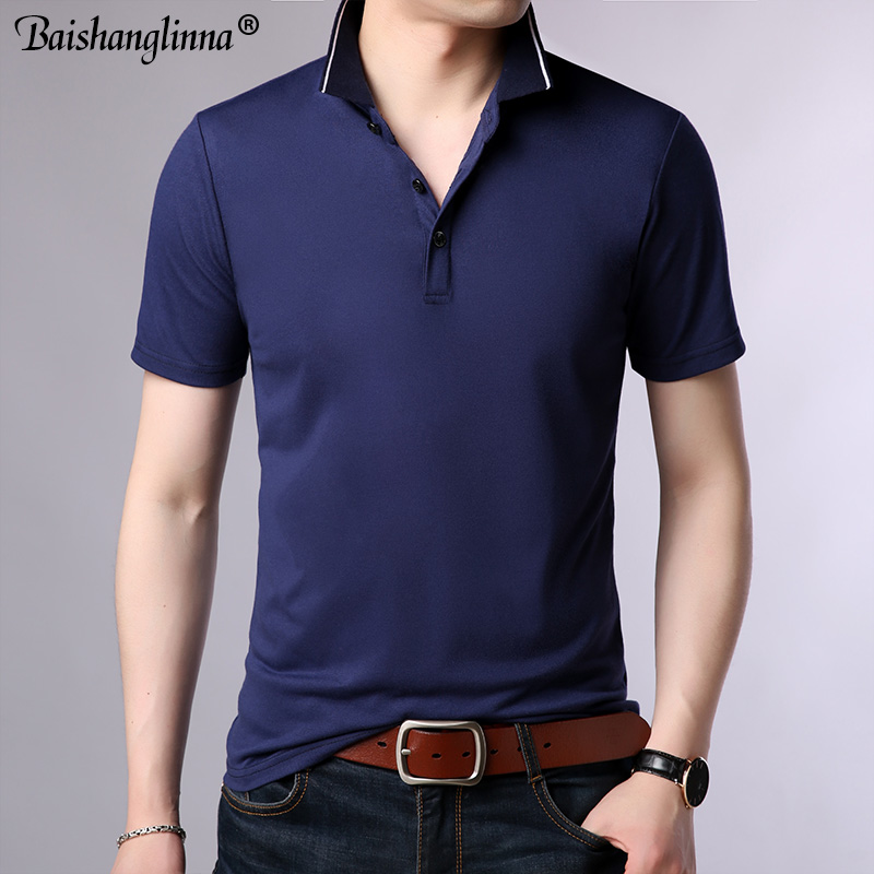 Baishanglin Brand clothing Men Polo Shirt Men Business Casual Solid Color Male Polo Shirt Short Sleeve High quality Pure Cotton 3