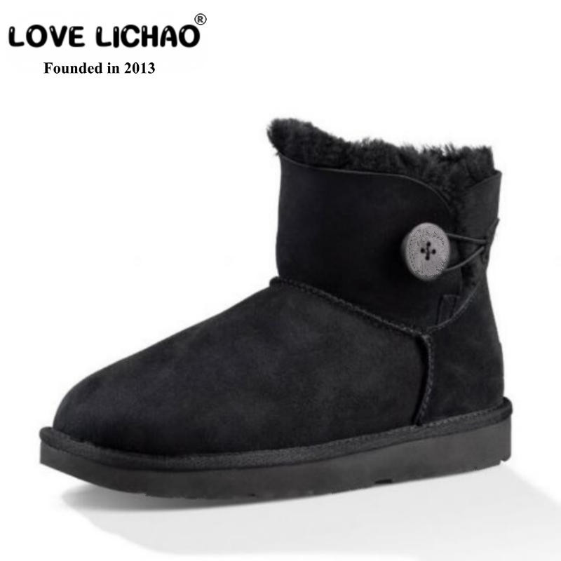 2018 Top Quality 100% Sheepskin Leather Winter Boots Waterproof Women Snow Boots Natural Fur Women Ankle Boots Zapatos Mujer триммер электрический bosch amw 10 1000вт насадка триммер