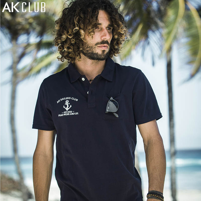 823f31372b23f АК-клуб Для мужчин Мужские Поло рубашка Сейлор Якорь Вышивка Мужские Поло  для Для мужчин