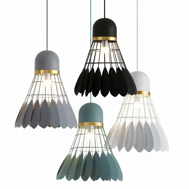 Post modern Badminton pendant lights macarons colorful Iron art pendant lamps foyer dining room decoration E27 lighting fixture Post modern Badminton pendant lights macarons colorful Iron art pendant lamps foyer dining room decoration E27 lighting fixture