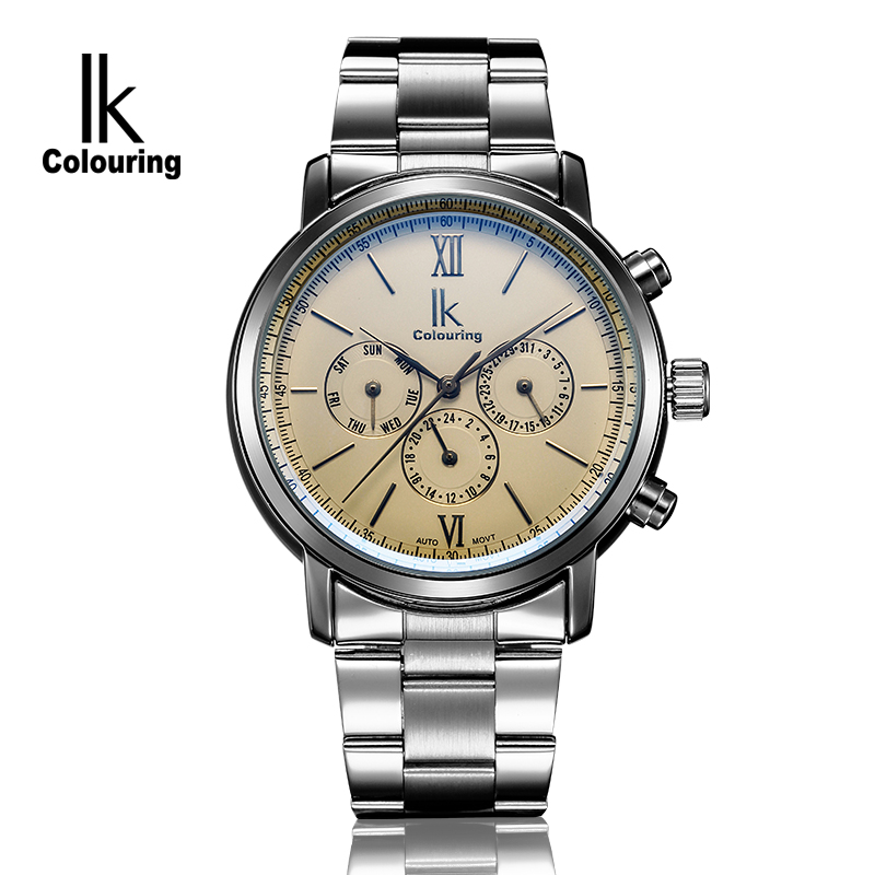 IK Coloring Famous Mens Watches Brand Luxury Hardlex Day/Week/Month Auto Mechanical Waterproof Wristwatch Oringal Box Free Ship 2016 luxury relogio masculino day week month tourbillon auto mechanical watch wristwatch valentine s day gifts box free ship