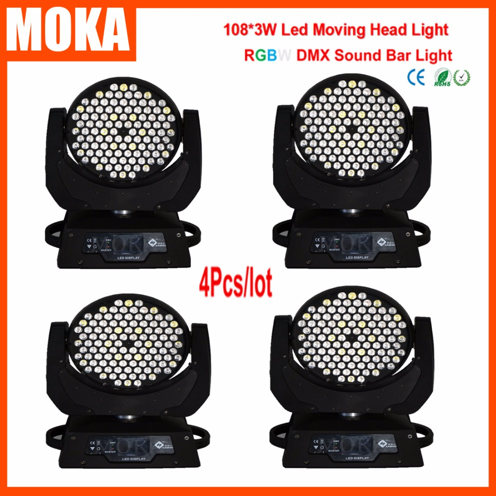4Pcs/Lot Moving Led 3w 108 Head Dj Indoor Stage Light RGBW Party Moving Projector Christmas Outdoor Effects With Flight Case