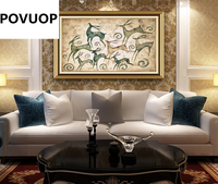 POVUOP diamond embroidery 80*55cm full diamond embroidery Rich deer painting round diamond cross stitch