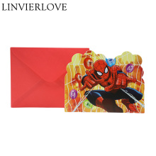 12pcs Set Spiderman Theme Party Cards For Kids Boys Girls Birthday Paper Invitations EventParty