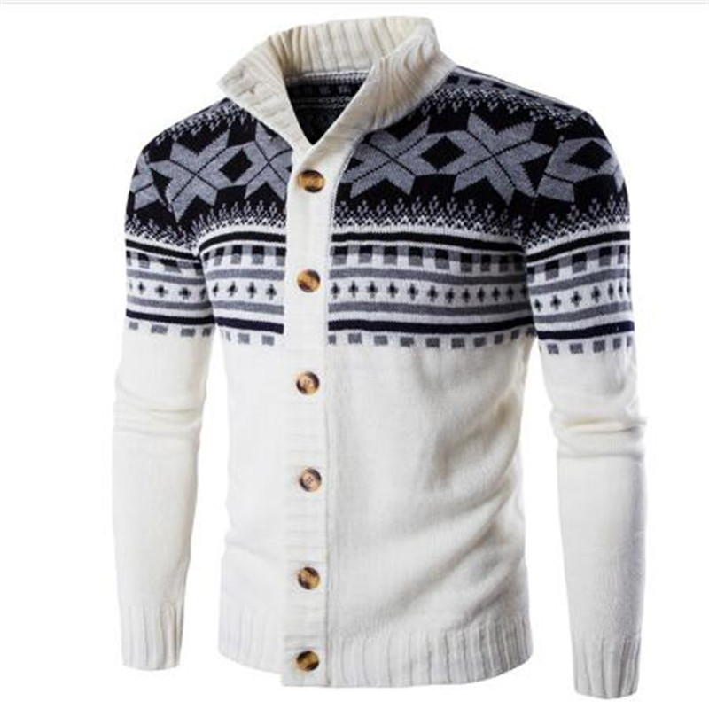 Loldeal Men's Sueter Hombre Sweater  Fashion Autumn Winter Snowflake Thick Warm Knitwear Cardigan Casual Size 2XL