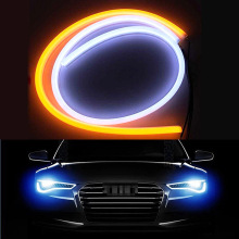 2x 30 45 60 85cm High Bright White+Yellow DRL Flexible Strip Daytime Running Lights LED Headlight Angel Eye Light
