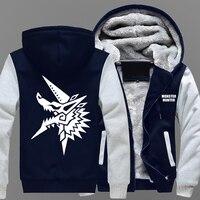 Monster Hunter Winter Coat Animation Monster Hunter Male Style Plush Thickening Warm Hoodies Men New Brand