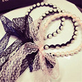 Sweet  headwear Headband ribbon hair hoop lace fashion head band hair ornaments large pearls women Accessories Tails bow
