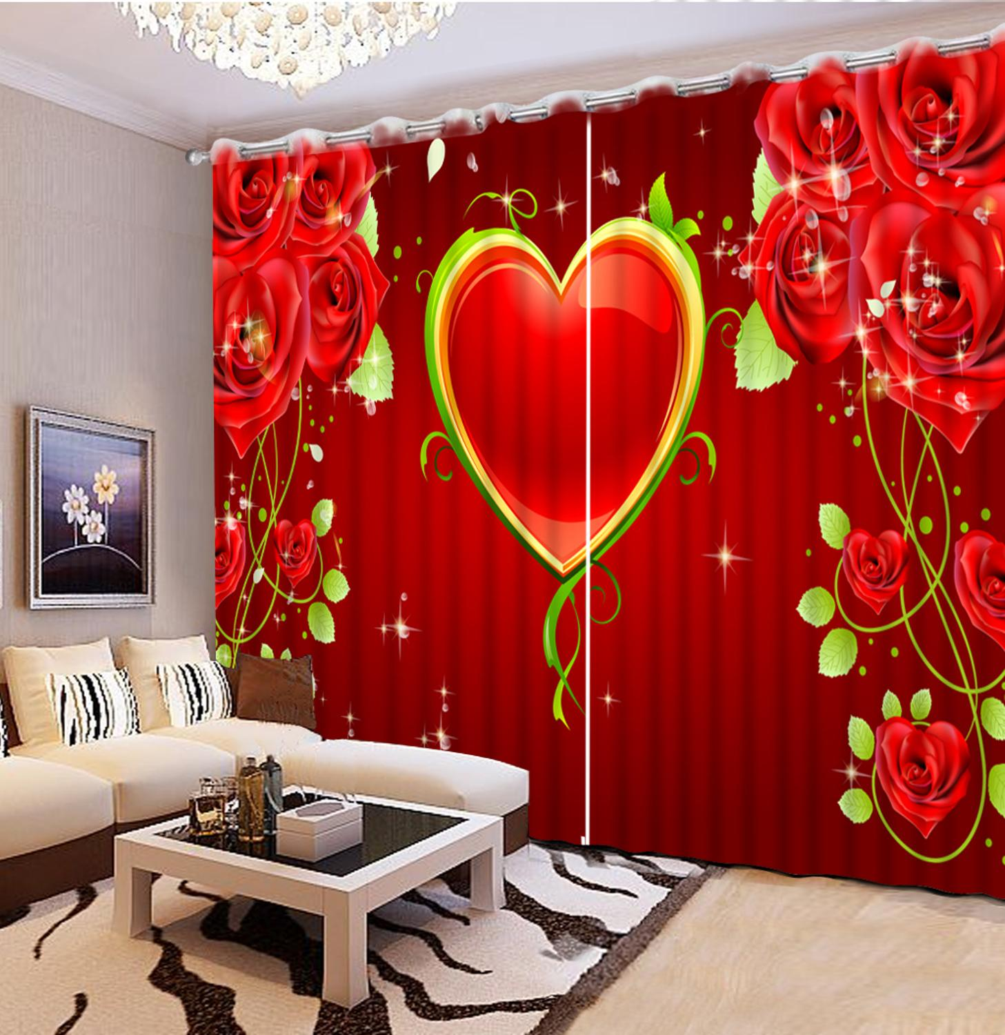 Home Wndows Customize 3D Window Curtains For Living Room Bedroom Wedding decoration Rose love modern curtainsHome Wndows Customize 3D Window Curtains For Living Room Bedroom Wedding decoration Rose love modern curtains