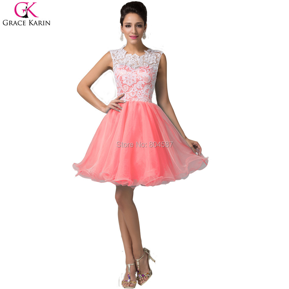 Grace Karin Sleeveless Lace Vestido Noite Short Prom Dresses ...