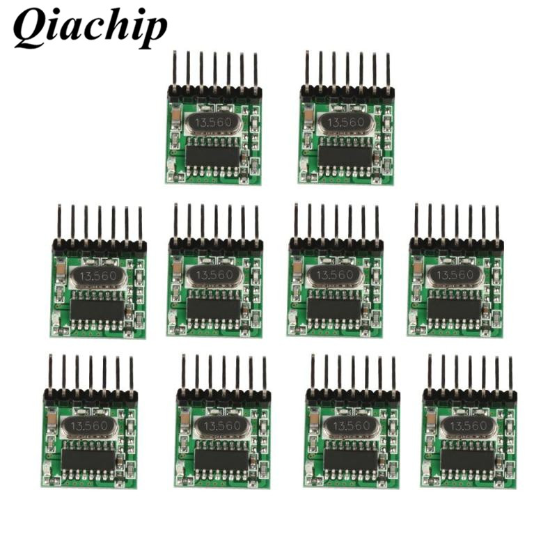 QIACHIP 10Pcs 433MHz Superheterodyne RF Transmitter Encoding Module Learning Code 4 CH Wireless RF Remote Control DIY Kits B new 1transmitter &4receiver module wireless remote control encoding module system momentery latched rf remote control switches