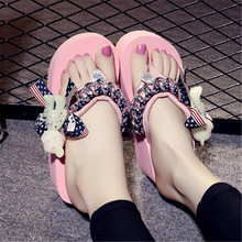 Factory Price Fashion Women Summer Beach Slippers Chains Decor Flip Flops Platform Sandals Candy Color Handmade Casual Slides