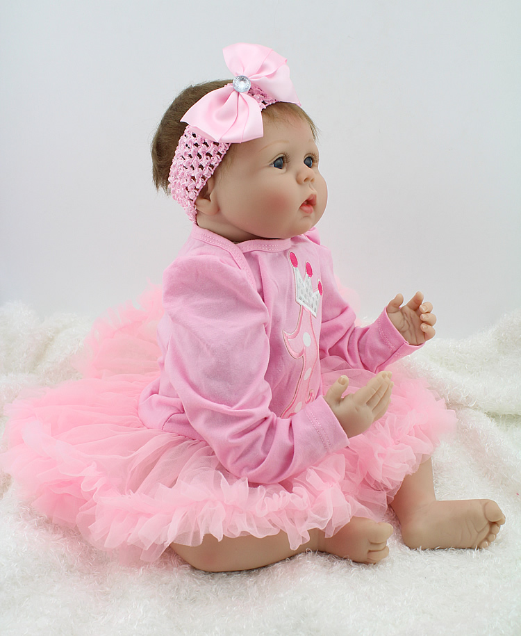 NPKDOLL Baby Reborn Doll 22 Inch Lifelike Soft Silicone Reborn Toys Fashion Gift For Girls Newborn Babies Toys