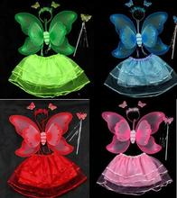 Wholesale Child Butterfly Costume With Stick,Skirts,Wings and Headwear Butterfly Decoration Free Shipping