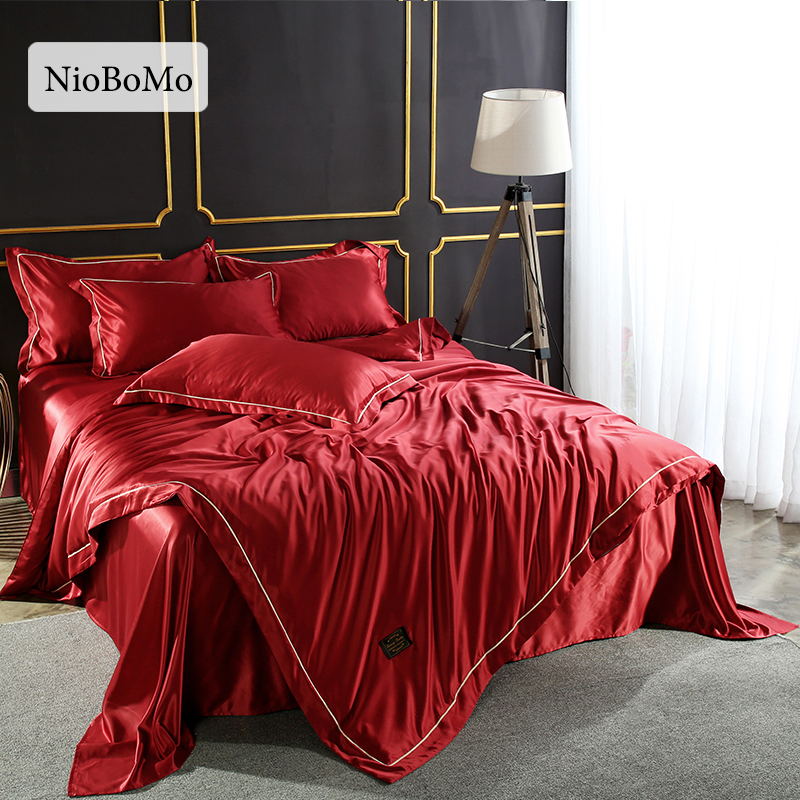 Niobomo Luxury Red Silk Bedding Set For Bedroom 100% Silk Home Textiles  Duvet Cover Comfortable