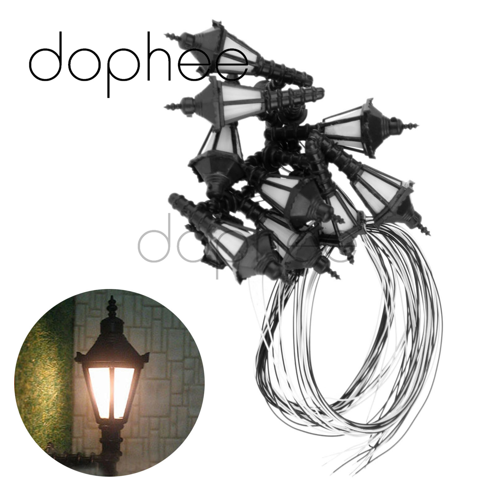 dophee 10pcs 3V Up Wall LED Lights Lamp Lamppost O Scale 1:<font><b>50</b></font> for Model Train Railway Park Courtyard Layout image