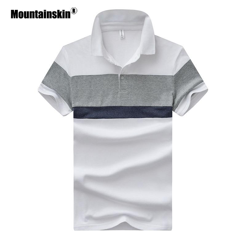 Mountainskin 4XL New Summer Men's   Polos   Breathable Cotton Short Sleeve   Polo   Shirts Casual Turndown Collar Male   Polos   Boys SA471