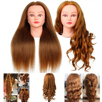 60cm 100% Real Human Hair Mannequin Head Cosmetology Hairdressing Doll Heads Hairstyle Maniquin Head