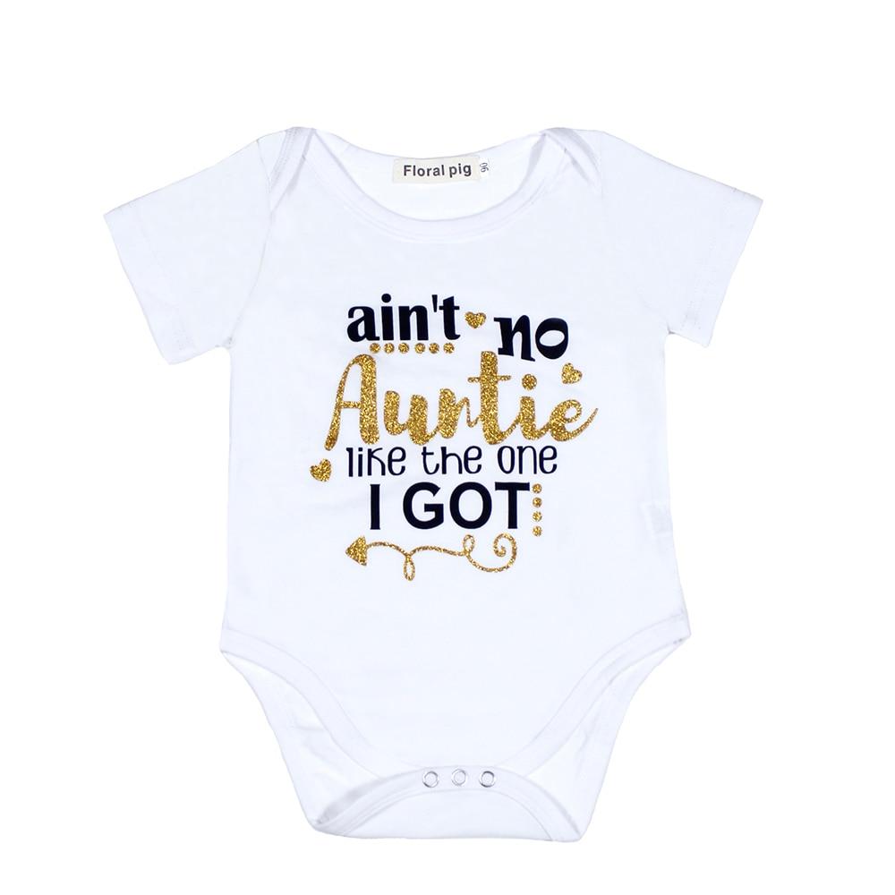 Auntie Babykläder Gyllene Brev Babybody Vit Onesie Unisex Kortärmad Nyfödda Baby Girl Första Födelsedag Pojke Outfits