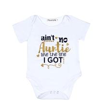 Auntie Baby Clothes Golden Letter Baby Bodysuit White Onesie Unisex Short Sleeve Newborn Baby Girl First Birthday Boy Outfits